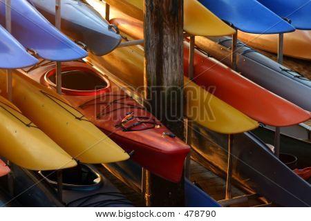 Kayaks In Racks