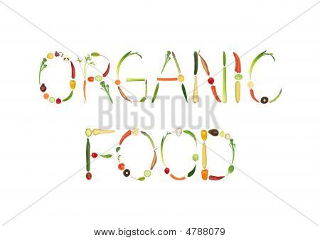 Vegetable selection spelling the words organic food over white background. poster