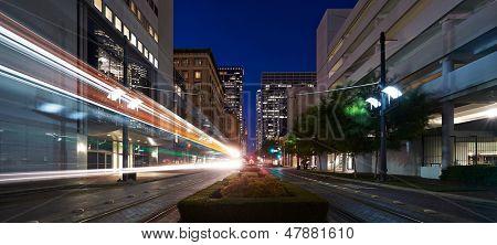 Houston, Texas. Tram moving at Main street at night