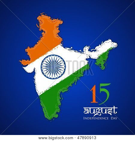 Republic of India map in Indian tricolors on blue background for Independence Day.