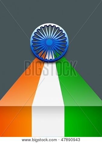 Independence Day or Republic Day background with 3D ashoka wheel on Indian tricolors background.