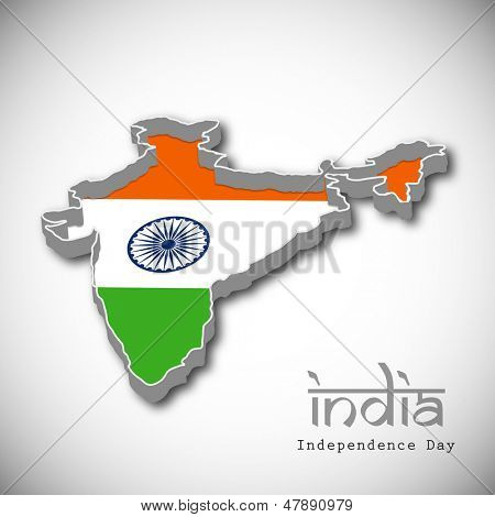 Republic of India map in Indian tricolors on grey background.