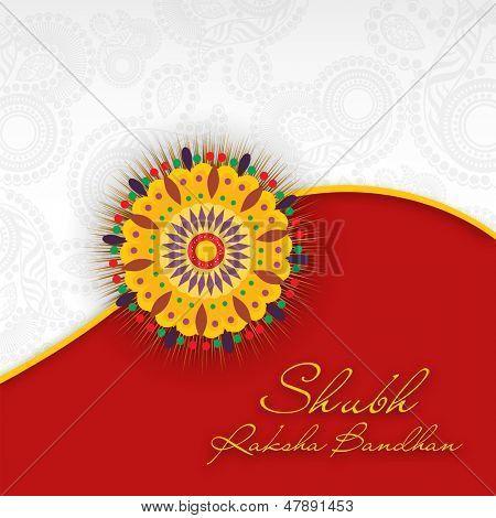 Indian festival background with beautiful rakhi and text Subh Raksha Bandhan (Happy Raksha Bandhan).