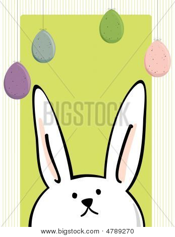 Close up of bunny looking up at hanging Easter eggs - text area poster