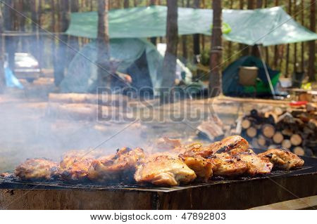 Grill on camping in forest