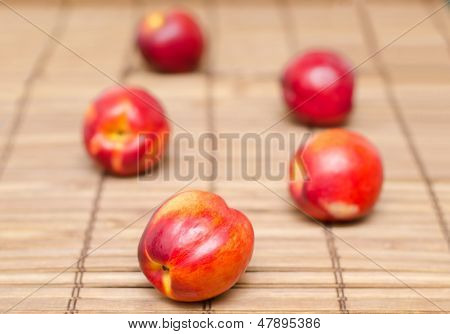Nectarines On Wood