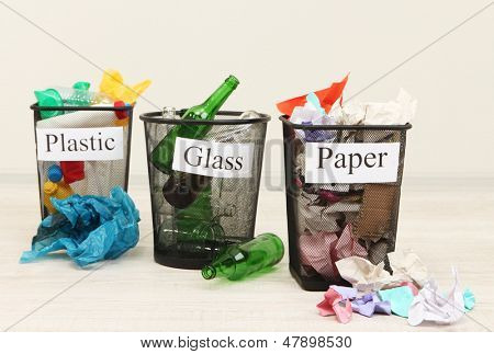 Buckets for waste sorting on room background
