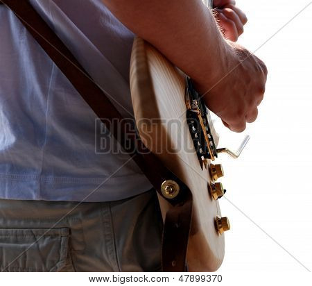 Detail Of Guitarist Playing His Guitar