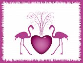card with pink heart and two flamingos poster