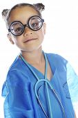 """Head and shoulders image of an elementary """"doctor"""" in coke-bottle glasses, blue scrubs and a stethoscope.  On a white background. poster"""