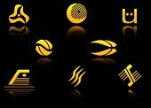 Set of golden symbols on black with reflection poster