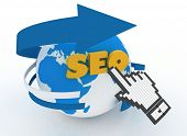 "Earth globe and hand cursor on a word ""seo"". 3d illustration of internet world wide web concept poster"