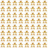 Illustration of small kind tone colored teddy bears in a pattern on a white background. poster