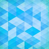 Abstract grunge blue triangles vector background. This is file of EPS10 format. poster