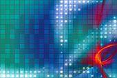 Halftone fractal illustration with gridded square shapes. poster