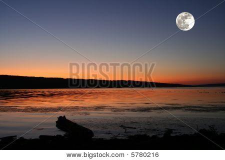 Moon rising over Cayuga Lake.