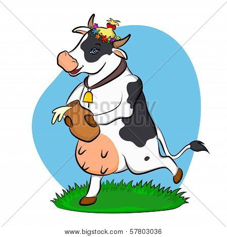 A Cow With A Jug Of Milk