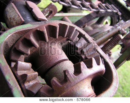 Gears On An Antique Corn Planter