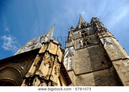 Low-angle view of Bayonne cathedral
