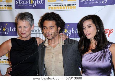 Jamie Lee Curtis with Corbin Bleu and Teri Hatcher  at the Starlight Children's Foundation's 'A Stellar Night' Gala. Beverly Hilton Hotel, Beverly Hills, CA. 03-27-09