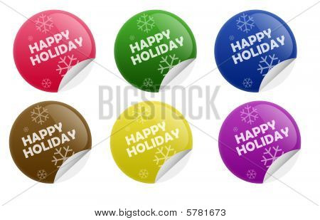 Glossy Happy Holiday Sticker