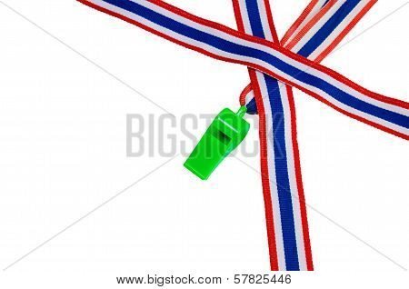 The Whistle Political, Thailand, The Flag Of Thailand. On White Background
