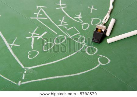 Fooball Play Diagram On Chalkboard