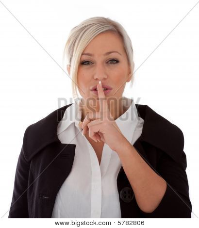 Businesswoman Signals Being Quiet