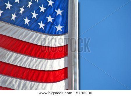 3-D American Flag Blue Sky