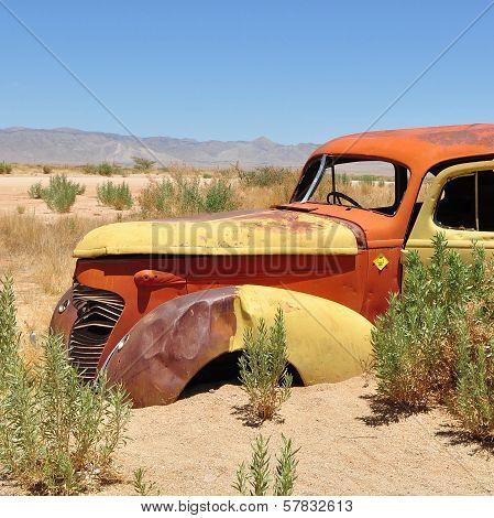 wreckage in desert
