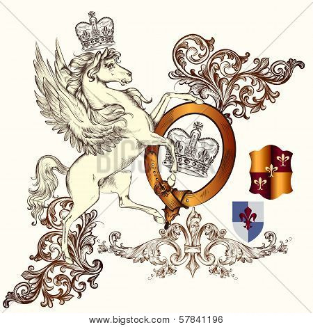 Vector heraldic illustration in vintage style with shield armor crown and horse for design poster