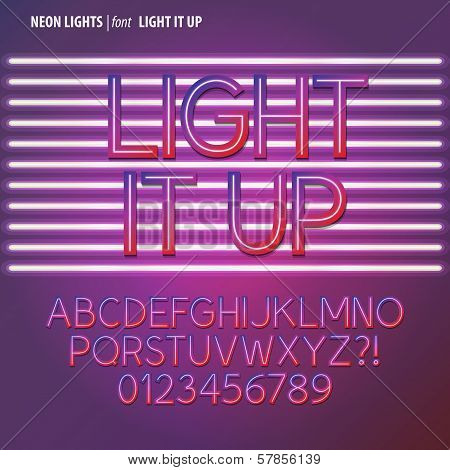 Neon Lights Alphabet And Digit Vector