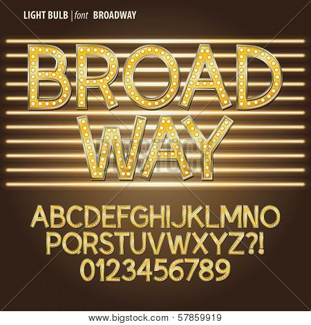 Golden Broadway Light Bulb Alphabet And Digit Vector