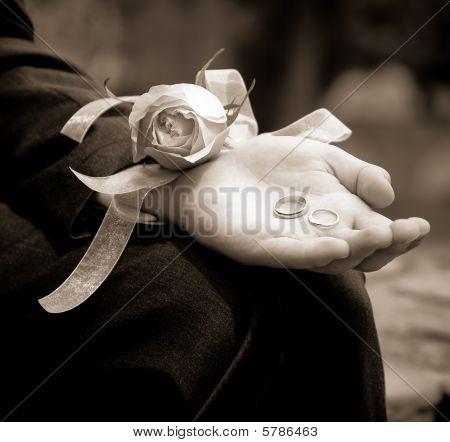 Groom Holding The Wedding Rings On His Wedding Day