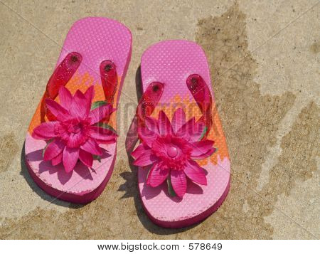Flip Flop Sandals By The Pool