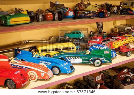 Vintage Tinplate Cars On Display At Homi, Home International Show In Milan, Italy