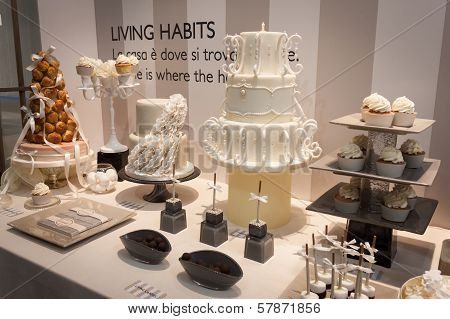 Elegant Cakes On Display At Homi, Home International Show In Milan, Italy