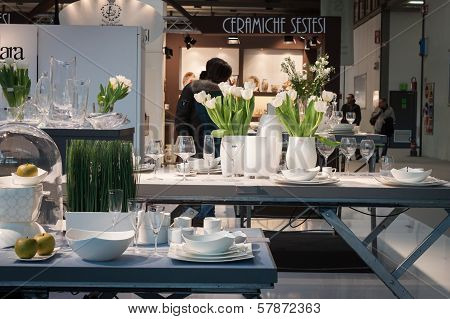 Tableware On Display At Homi, Home International Show In Milan, Italy