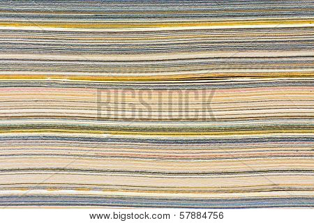 Macro Closeup Of Pages In Stack Magazine, Cardboard Or Cardstock.
