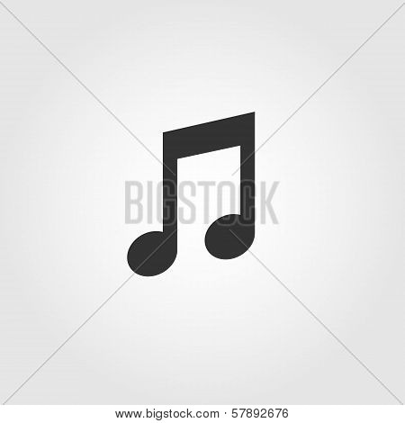 Music note icon, flat design
