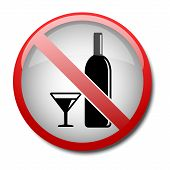 sign no alcohol 2d on white background poster