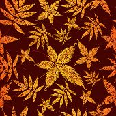"Vector Seamless Background with colorful Autumn Leaves. Thanksgiving (From my big ""Seamless collection"") poster"
