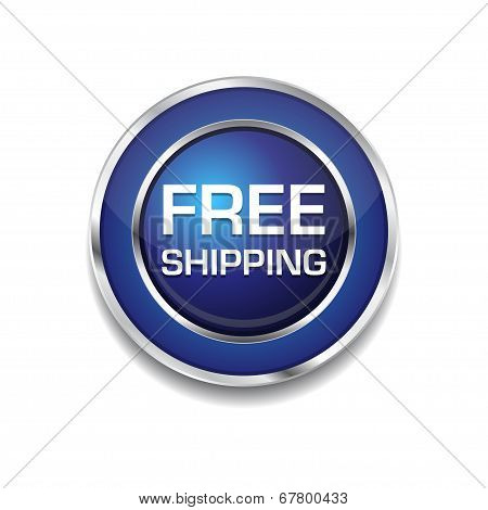 Free Shipping Glossy Shiny Circular Vector Button