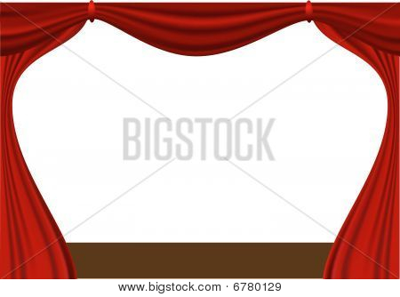 open red curtain - vector