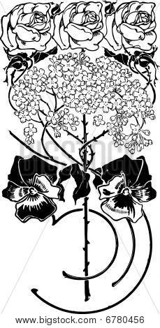 Flower Art Deco Illustration Vector. Sunflower.