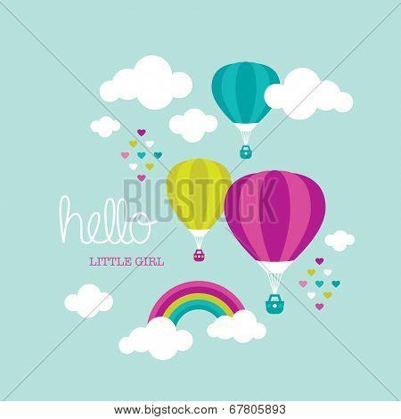 Cute baby nursery announcement little girl postcard hot air balloon illustration cover design