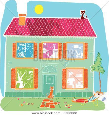 Home house vector cartoon illustration colour retro poster