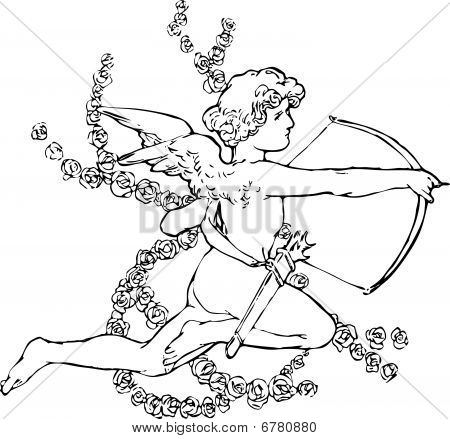 Illustration  cartoon cupid retro vintage pop. Illustration of a Valentine's Day cupid ready to shoot his arrow poster