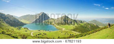 Panorama of Lake Enol in Picos de Europa Asturias Spain