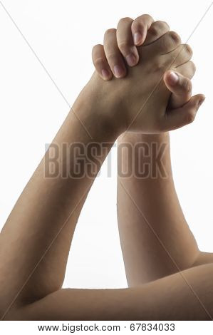 Young hands make a embracing hands gesture poster